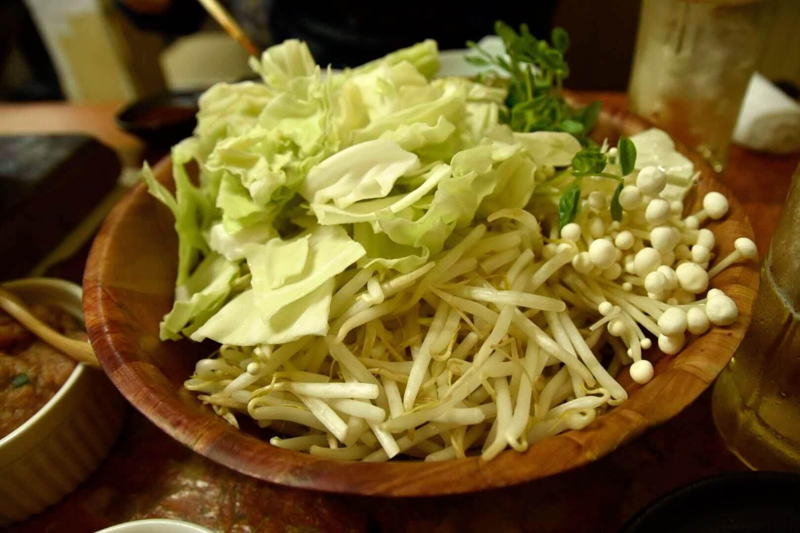野菜(キャベツ、もやし、えのき、豆苗)
