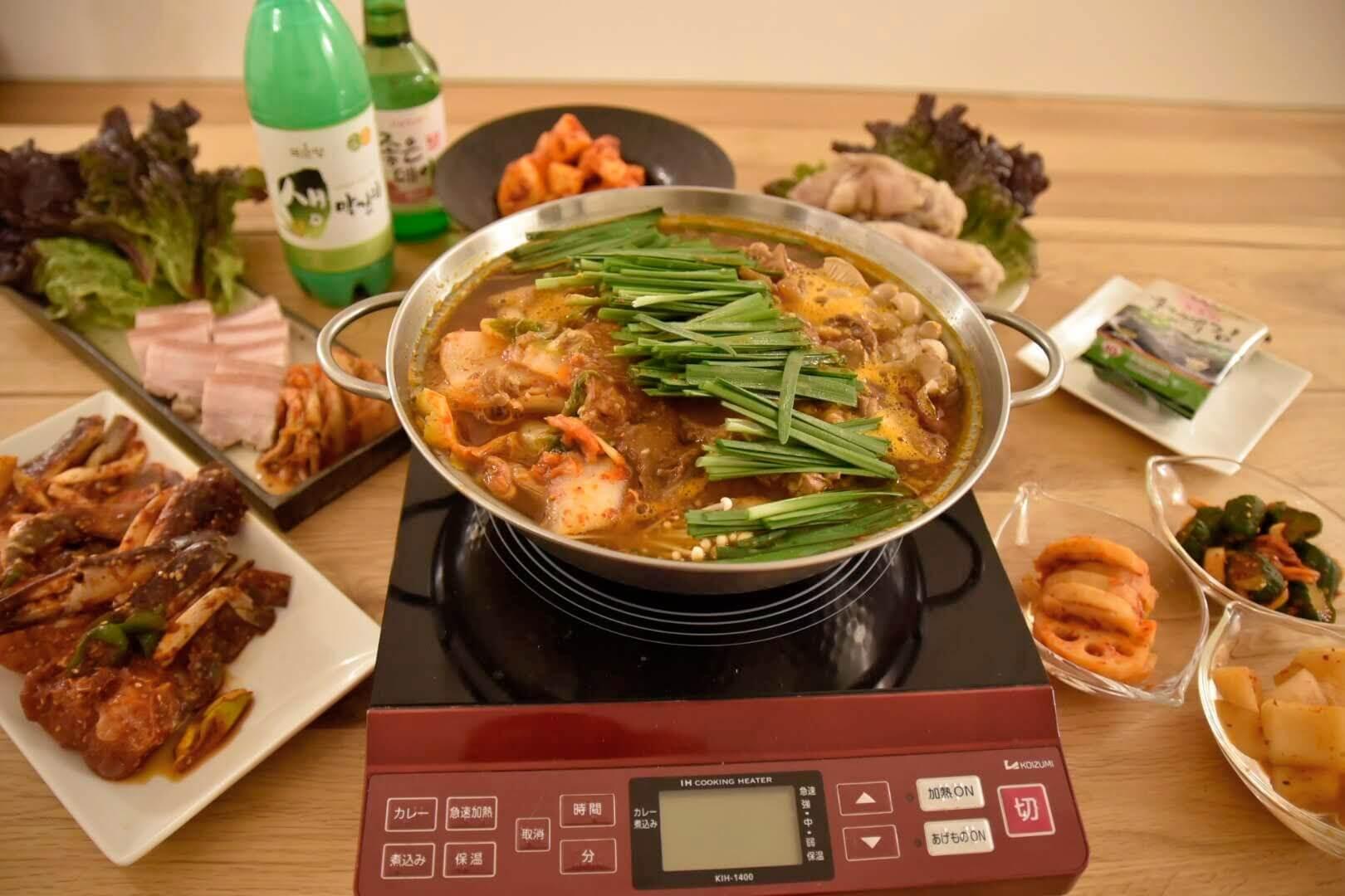 キムチホルモン鍋パーティーの料理